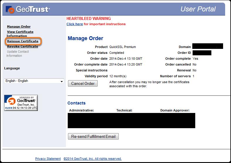 Reissue An Ssl Certificate Help Support